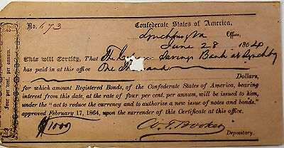 1864 Confederate States Bond June $1000 Dollars Lynchburg Virginia Hand Signed