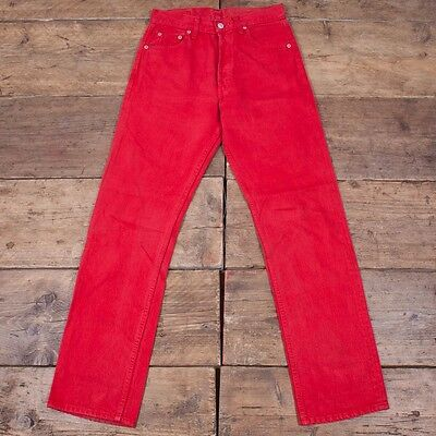 Womens Vintage Red Tab 501 Levis Red Denim Jeans Size 28 x 30 R3513