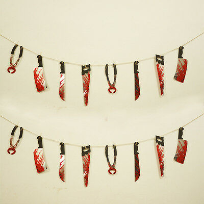New Halloween Props Blooding Knife Hanging Decoration Horror Haunted House Decor