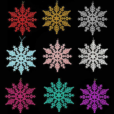 Christmas Tree Decoration Pack of 6 - Snowflakes. Xmas Garland Star Snowflake