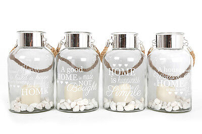 Large Glass Lantern & Rope Handle LED Candle and Stones. Choice 4 Home Slogans