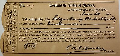 1864 Confederate States Bond June $200 Dollars Lynchburg Virginia Typed In City