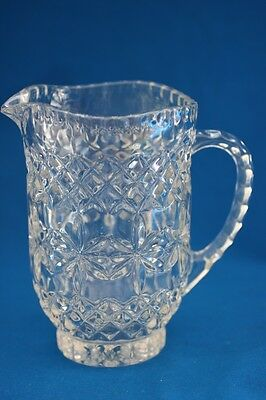 Vintage Pressed Glass Footed Clear 24 Oz. Pitcher Diamond Stars Thumbprints
