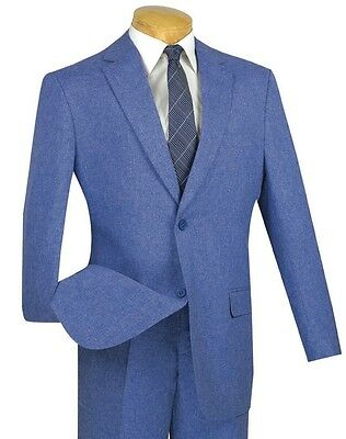 Men's Blue Textured Weave 2 Button Classic Fit Polyester Suit NEW