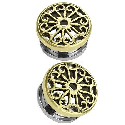 Pair - Antique Gold-Tone Brass Tribal Heart Shield Ear Tunnels Plugs Gauges