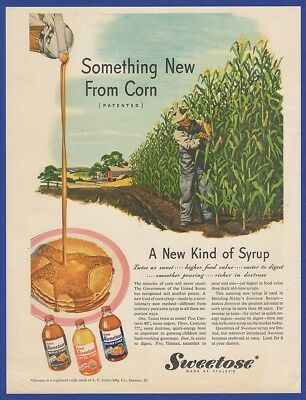 Vintage 1945 SWEETOSE Pancake Waffle Syrup Staley's Corn Rare Print Ad 1940's