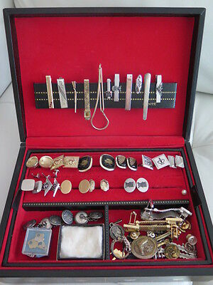 US Air Force retired Colonel Valet Box with Cuff Links, Tie Clips + more