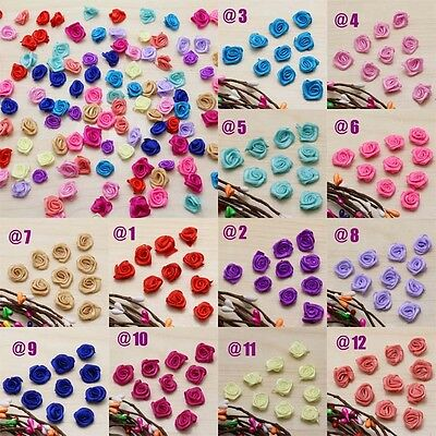 50pcs/Bag Mini Satin Ribbon Rose Flower Applique Patch DIY Craft 14 Color U pick