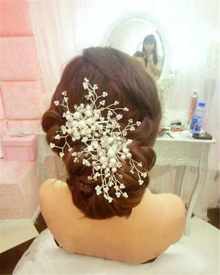 Wedding Bride Crystal Flower Pearl Hair Clip Comb Pin Headpiece Accessories