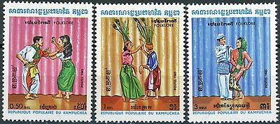 Cambodia Folklore Dance Issues of 1983 Complete Set 3 MNH Scott's 400 to 402