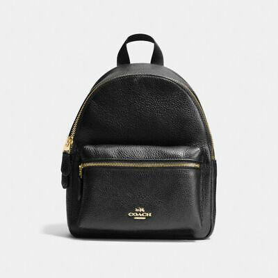 New Coach F38263 Mini Charlie Backpack In Pebble Leather Black With Gift Box