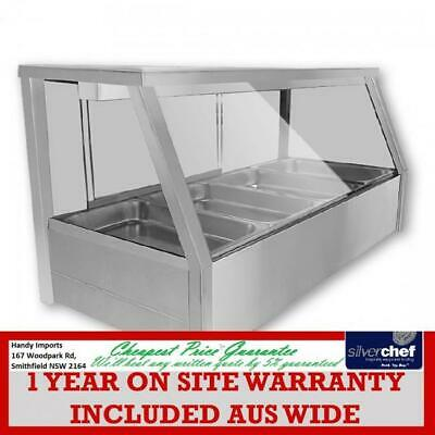 Fed Commercial Heated Wet Six ½ Pan Bain Marie Angled Countertop Display Bm11Td