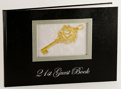 Black 21st Birthday Party Guest Book with Key Design | Keepsake | Gift | Present