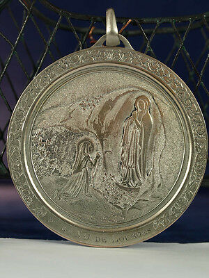 Very large antique french Religious Medal Our lady of lourdes bronze copper RARE