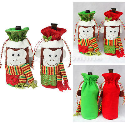 Christmas Decorations Red Cute Monkey Wine Bottle Cover Bags Dinner Party Gift
