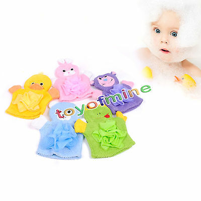 Soft Baby Bath Sponges Glove Cute Cartoon Animal Design For Shower Mitt