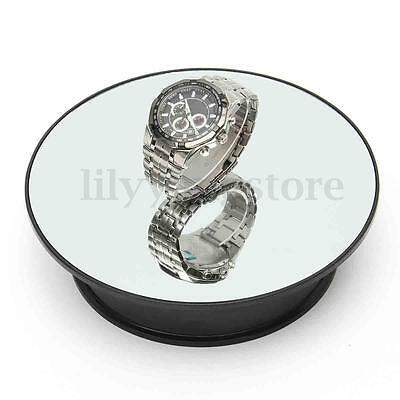 "8"" Top Mirror Glass Rotating Rotary Display Stand Turntable Battery Powered New"