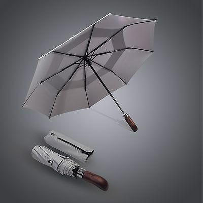 Windproof Umbrella Fiberglass Auto Open & Close Luxury Handcrafted Wood Handle