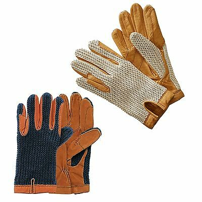 Harry Hall Full Leather Palm Elasticated Contrasting Glc141 Crochet Back Gloves