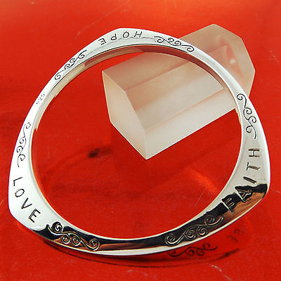 A691 Genuine Real 925 Sterling Silver S/f Solid Ladies Engraved Bangle Bracelet