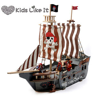 Imaginarium WOODEN Pirate SHIP 68CM LARGE BOAT Pretend PLAY SET w/ Dolls RRP129