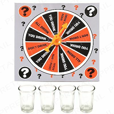 Shot Glass Drinking Game ~SPIN A DRINK~ Party Spinner Hen Stag Adult Alcohol