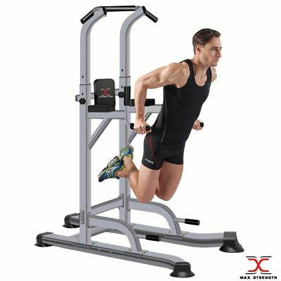 Power Tower Pull Up Chinning Dip Station Knee Raise Press Ups Gym Workout Stand