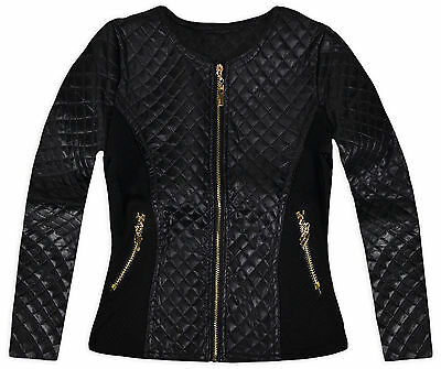Girls Faux Leather Quilted Jacket New Kids Lightweight Black Jacket Age 3-12 Yrs