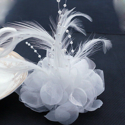 White Pearl Corsage Hair Clip Flower Fascinator Feather Hairpin Party Wedding