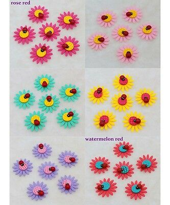 NEW 10-50-100PCS 4CM DIY Sunflower Non-woven Applique with Ladybug Design Crafts