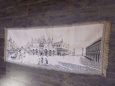 Antique OLD TAPESTRY ITALIAN  VENICE Venezia WALL HANGING Art VINTAGE Panorama