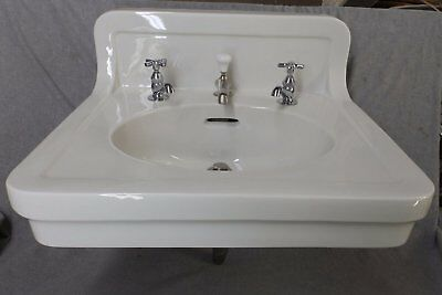 Antique White Porcelain Ceramic Bathroom Sink Trenton Pottery Plumbing 1634-16