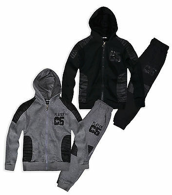 Boys Faux Leather Tracksuit New Kids Hoodie Jogger Black Grey Set Age 4-14 Years