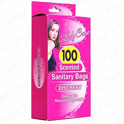 100 SCENTED PINK DISPOSABLE SANITARY BAGS Towel/Pad/Pantyliner/Tampon Degradable
