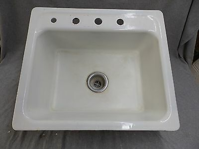 Vtg Cast Iron White Porcelain Drop In Sink Basin Old Crane Plumbing 1637-16
