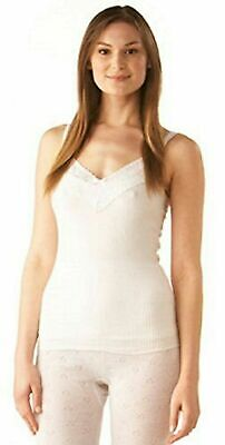 Thermal Ladies White Vest Top Camisole French Neck Extra Long Women Size 10-24