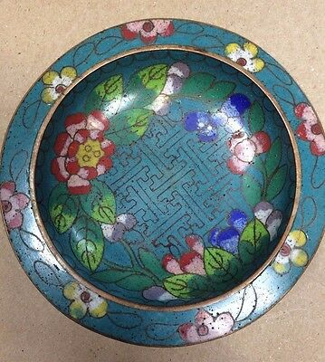 Chinese Cloisonné Small Trinket Dish with Blue Enamel and Peonies