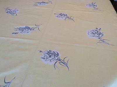 vintage linen yellow tablecloth with printed flowers (BEE3)