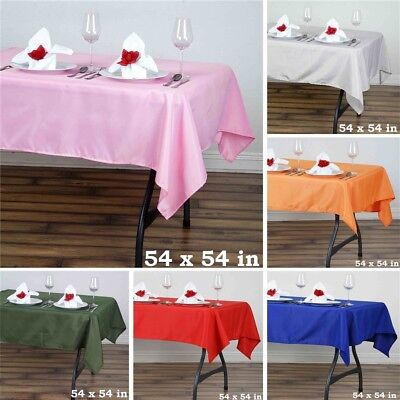 "15 pcs 54"" SQUARE POLYESTER TABLECLOTH Wedding Party Catering Dinner Linens SALE"