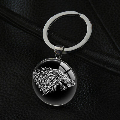 House Stark Keyrings Game of Thrones Keychains Silver Pendant Key Ring XK-132