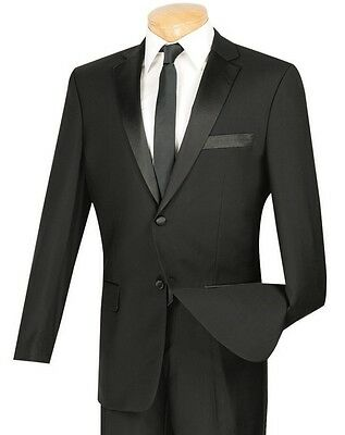 Men's Black Slim-Fit Formal Tuxedo Suit w/ Sateen Lapel & Trim NEW Prom Wedding