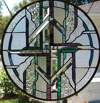 "Stained Glass window hanging 21 1/2"" in diameter"