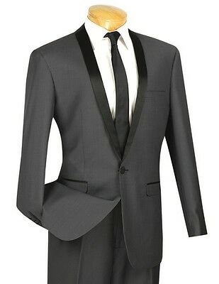 Men's Heather Gray Slim-Fit One Button Formal Tuxedo Suit NEW Prom Wedding Groom