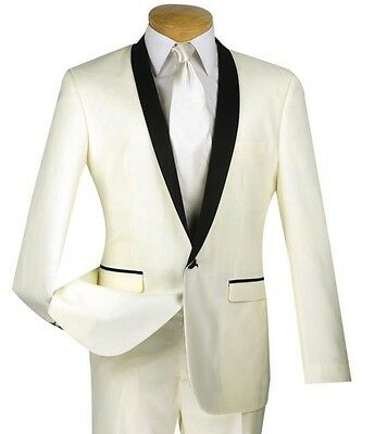 Men's Ivory One Button Slim-Fit Formal Tuxedo Suit w/ Satin Shawl Lapel NEW