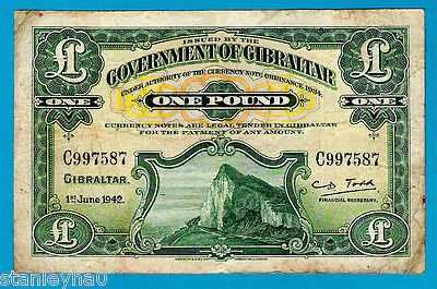 EX RARE Gibraltar P15b 1 Pound ROCK OF GIBRALTAR Sign C D Todd 1.6.42 VF CV $600