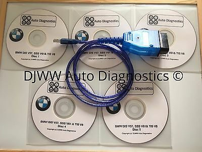 Bmw Dis V44 V57 Sss V59 & Tis V8 Gt1 Inpa Ediabas Diagnostic Software & Usb Lead