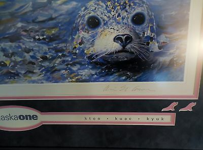 Fabulous Alaska BABY SEAL Signed framed Alvin Eli Amason print! Incredible work!
