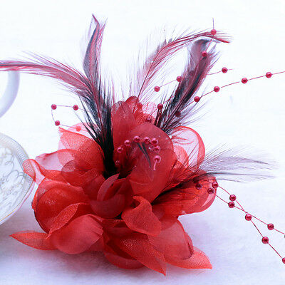 Pearl feather Corsage Hair Clips Flower Fascinator Feather Hairpin Party Wedding
