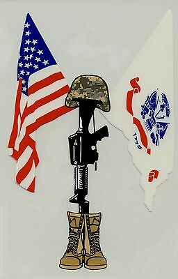 Fallen Soldier with USA/Army Crossed Flags Decal