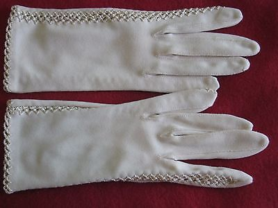 "Vintage Christian Dior Women's DRESS GLOVES Size 6 Nylon Crochet Sides 8""Long"